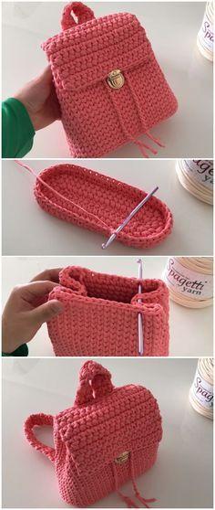 Häkeln Sie ziemlich einfachen Rucksack | Mütze häkeln | Pinterest