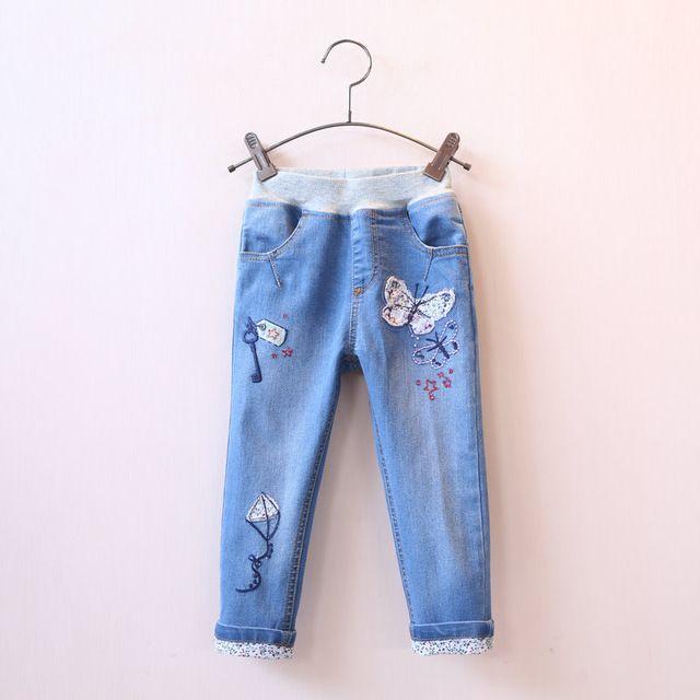 2016 Primavera Mariposa Apliques De Dibujos Animados Ninas Pantalones Vaqueros De Cintura Elastica Denim Pantalones Para Ninos Ninos Pantalones Ropa Infantil Ro Childrens Denim Jeans Kids Kids Pants