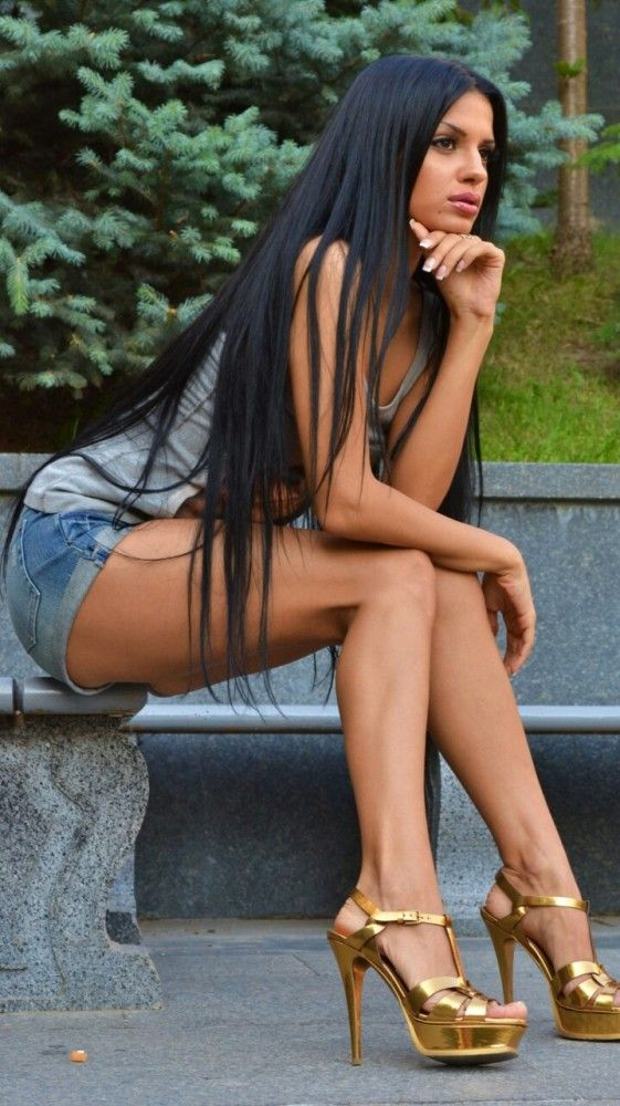 Naked women with long black hair