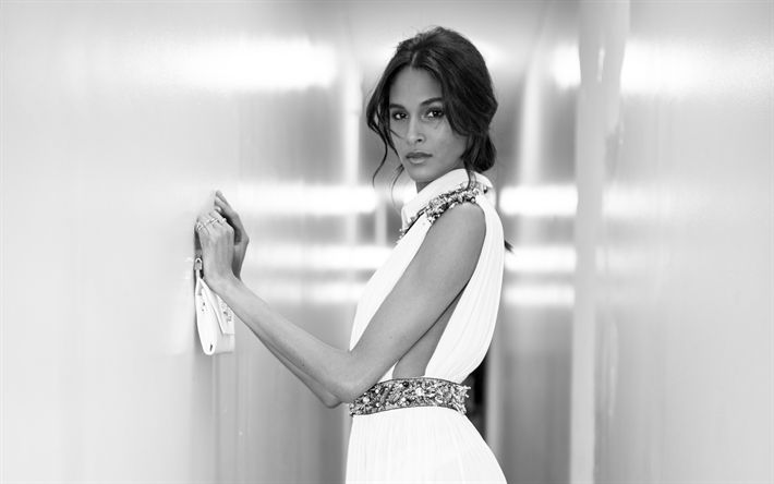 Download wallpapers Cindy Bruna, French top model, 4k, monochrome, woman in white dress, beautiful brunette