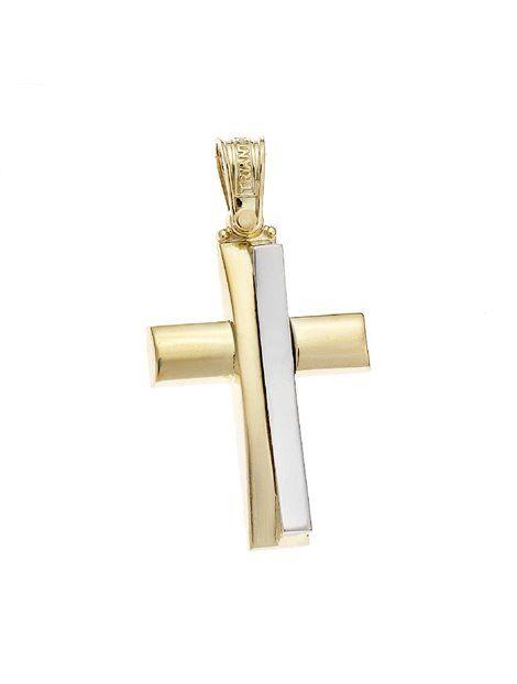 Σταυρός Τριάντος Χρυσός 14Κ Δίχρωμος Αναφορά 021302 Ένας βαπτιστικός σταυρός του οίκου Τριάντος , για αγόρι ή για άνδρα κατασκευασμένος από Χρυσό 14Κ σε κίτρινο και λευκό χρώμα ο οποίος μπορεί να συνδυαστεί με αλυσίδα Χρυσή 14Κ ή με δερμάτινο κορδονάκι στο χρώμα της αρεσκείας σας.
