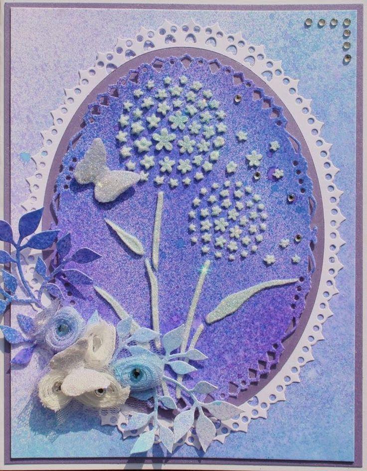 Card made by Sue. Sparkle Gel, Inkadinks, stencils
