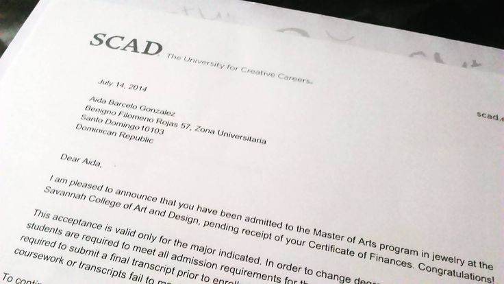 my beautifull SCAD admission letter 3 Jewelry references - college acceptance letters