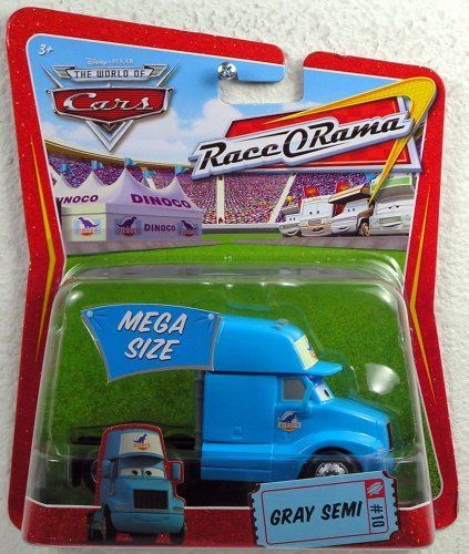 Disney / Pixar CARS Movie 1:55 Die Cast Car Oversized Vehicle King's Gray Semi (Cab Only!) by Mattel. $8.99. Mega Size Package Gray Dinoco Semi Tractor Cab Disney Pixar 1:55 Scale Mattel World of Cars Race O Rama Edition. Mega Size Package Gray Dinoco Semi Tractor Cab Disney Pixar 1:55 Scale Mattel World of Cars Race O Rama Edition