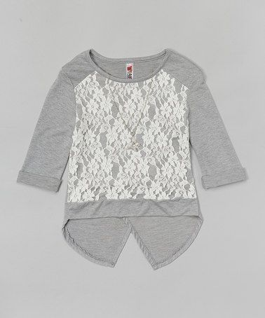 Love this Heather Gray Lace Hi-Low Top & Necklace on #zulily! #zulilyfinds