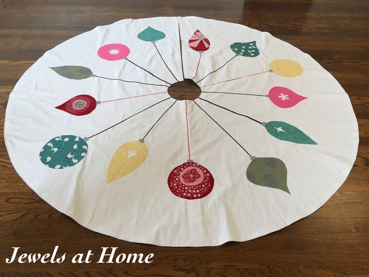 Retro Mid-Century Ornaments Christmas Tree Skirt | Jewels at Home
