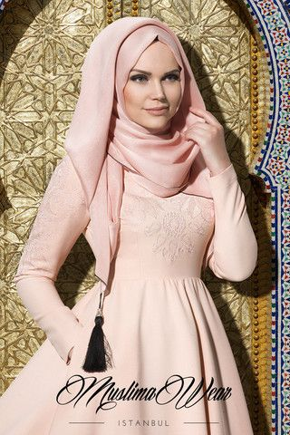 Muslima Wear 2015 Collection Maxi Dress in poudre color with silk embroidery on chest and sleeves  Wide cut, fully lined skirt  Slightly high waist   Wrinkle-free breathable fabric