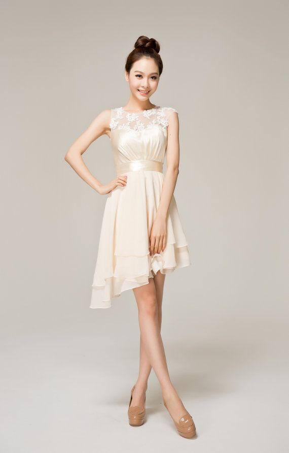 Lace champagne short bridesmaids dress summer elegant for Champagne lace short wedding dress