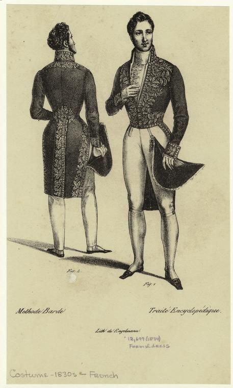 [Men's formal dress, France, 1830s.] Men -- Clothing & dress -- France -- 1830-1839
