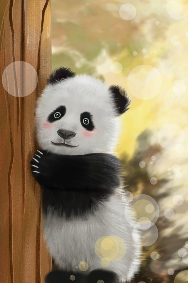 Cure Hand Painted Vertical Map Panda Animal Realistic Hand Painted Panda Art Baby Animal Art Animal Posters