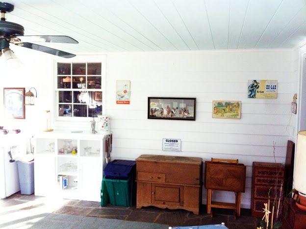 Hamptons Navy White Living Room Painting Lake