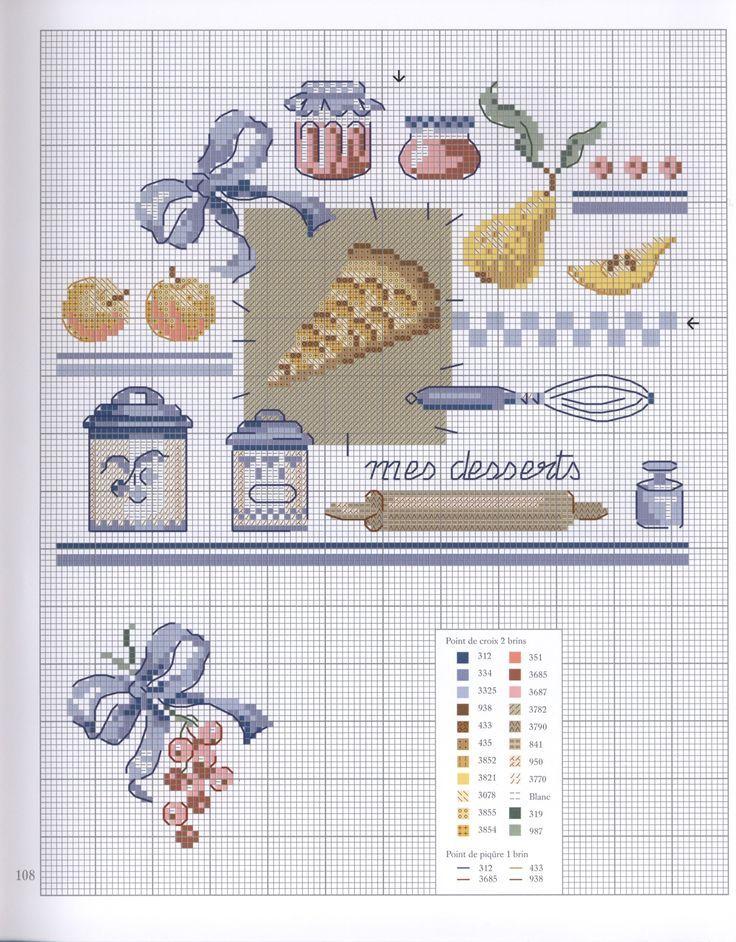 0 point de croix grille et couleurs de fils cuisine, ustensiles pour faire les desserts