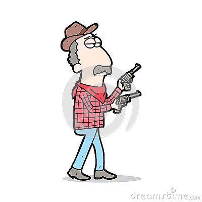 Illustration cartoon cowboy carrying two handguns