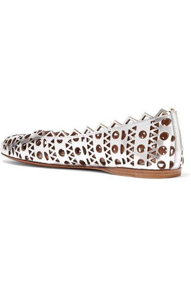 Alaïa - Laser-cut Metallic Leather Ballet Flats - Silver - IT35.5