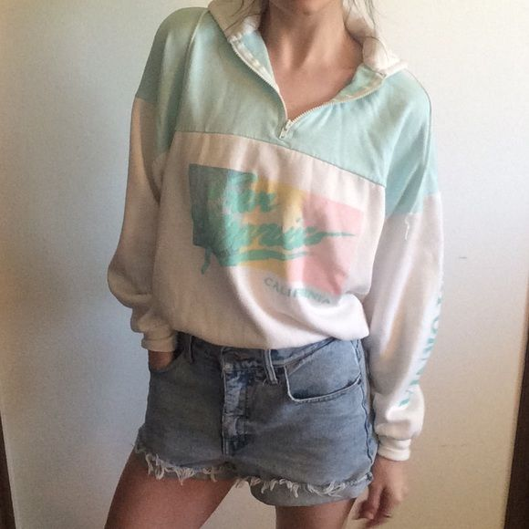"90's Vintage - Pastel San Fran Pullover ⭐️Garment Details⭐️  {Conditon}  Very Good Vintage  {fabric} Cotton & Poly  {Size} L  (may fit smaller)  {Brand} Magic Apparel   {Garment Measurements}  Bust:46"" Length: 22"" ~~~~~~~~~~~  {Overview} --Vintage --zip collar  --may fit smaller than tagged size, model wears XS for reference   --Slightly cropped fit  --light pilling   #vintage #grunge #alternative #edgy #90s #boho #hipster #athletic #summer  #pastel #gym #cropped #crew #Beachy #California…"