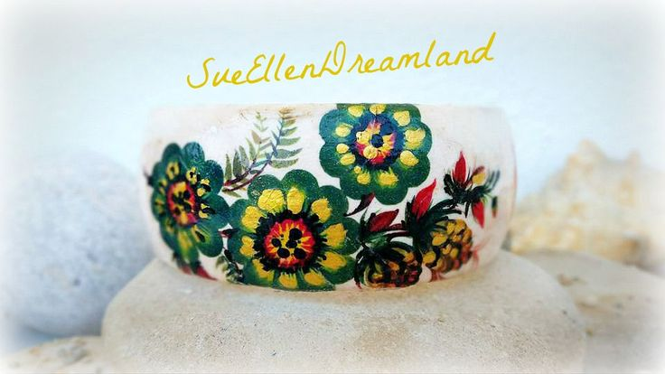 Spring 2017 beauties ,green gold decoupage bracelet,cuff bracelet,boho jewelry,decoupage jewelry,bohemian bracelet,unique,gift for her, by SueEllenDreamland on Etsy