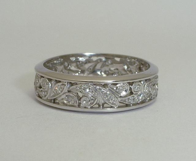 Vintage Art Deco Diamond Filigree Wedding Band In Platinum. Flower Design Rings. Pretty Bracelet. Music Note Pendant. Boy Bracelet. Valentines Day Bracelet. Diamond Shaped Stud Earrings. Blue Watches. Murano Beads