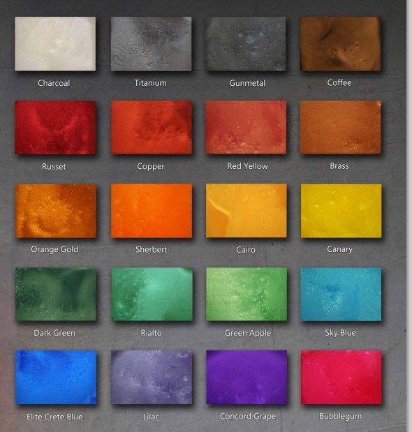Epoxy Floor Color Chart The color chart below represents our marble like epoxy floors. These are the most beautiful, amazing floors you'll ever see. Because of their unique way of being installed, no 2 epoxy floors will ever be the same. Be sure to take a look at our epoxy floor image gallery. There, you will find just about every type of epoxy floor we install.