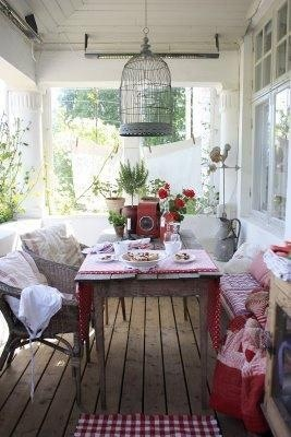 Country porch: bird cage light fixture