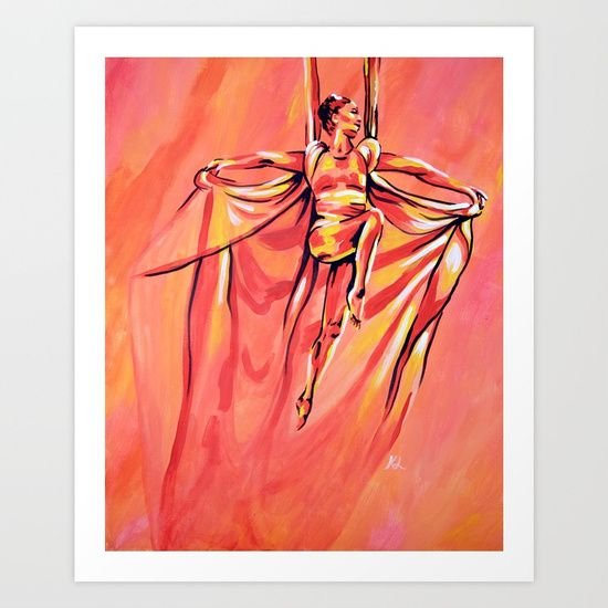 Wings Art Print    Read about how I was inspired by my aerial silks teacher's flying silks performance to create this portrait in the blog post: https://the-art-of-flying.com/2017/07/01/wings-painting-angela-chu-flying-silks/