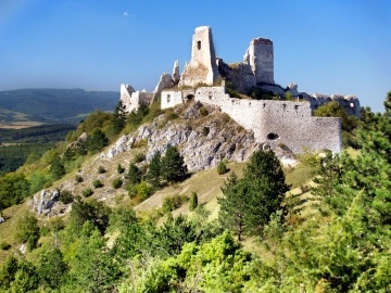 A view of ruined Castle of Cachtice situated in the mountains above the Cachtice village in the west of Slovakia in Trencin region. The Castle of Cachtice was residence of the world famous Elizabeth Bathory and it is definitely worth a visit.