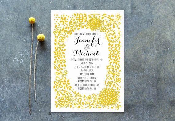 Floral Mustard Wedding Invitation Suite Sample by MoePaperCo