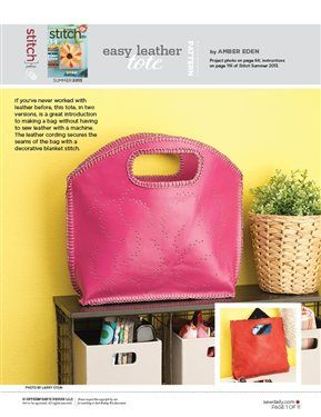 Pattern: Easy Leather Tote - Sew Daily