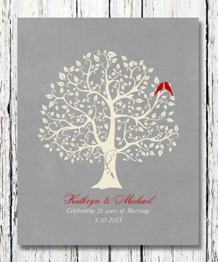 25th silver wedding anniversary tree gift anniversary gift for parentsparents inlaw 8 x 10 poster print custom colors fonts