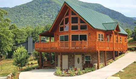 Timber Frame House Plan of Logangate Homes Elevation - http://www.timberhomeliving.com/logangate-homes-chalet/