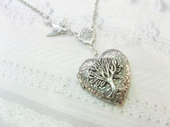 Silver Locket Necklace  Silver TREE OF LIFE Locket  by birdzNbeez, $28.00