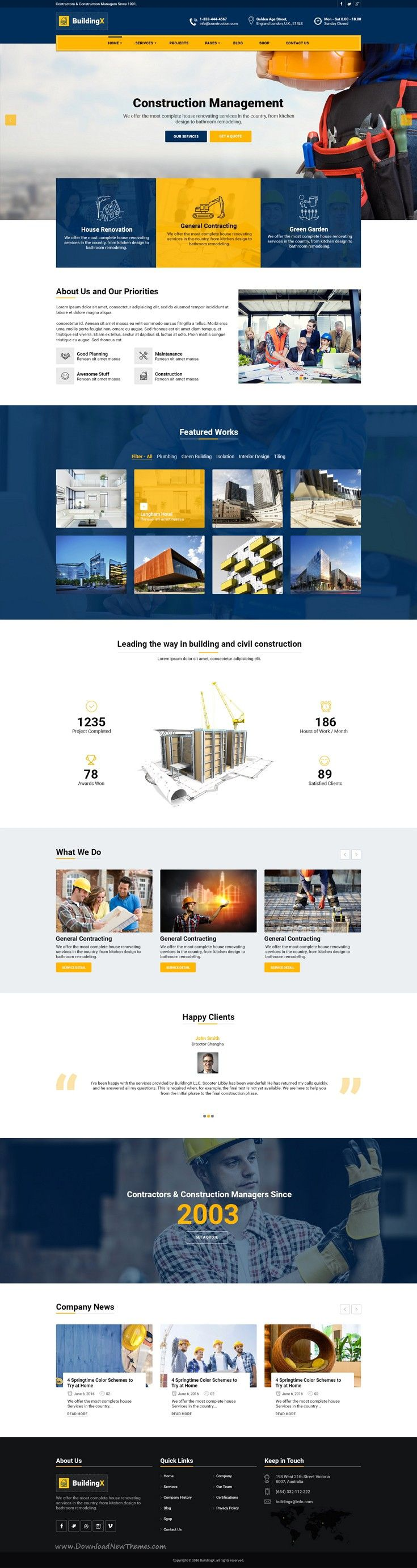 The BuildingX PSD #template can be used for any type of #construction, builder #websites.  Download Now!