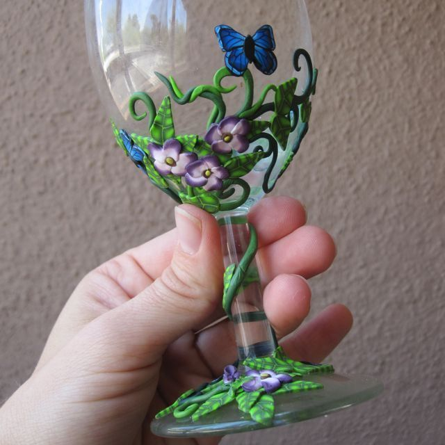 Polymer clay wine glass ~~~AN IDEA FOR DECORATING VOTIVE CANDLE GLASSES~~~