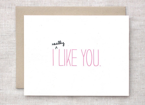 I (really!) like you.Valentine'S Day, Etsy, Valentine Day, Ecofriendly Cards, Valentine Cards, Greeting Cards, Girls Stuff, Anniversaries Cards, Anniversary Cards