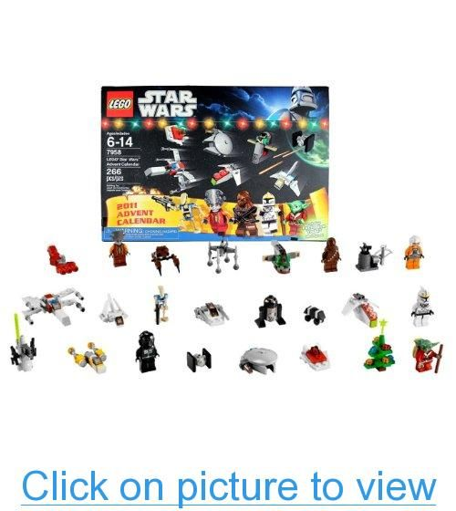 Lego Year 2011 Star Wars Series Set #7958 - Lego Star Wars Advent Calender with 9 Minifigures (Pilot Battle Droid, Clone Pilot, Santa Suit Yoda, Chewbacca, Nute Gunray, Rebel Pilot, R2-Q5, Mouse Droid and TIE Pilot), 11 Mini Vehicles and 4 Mini Objects (T #Lego #Year #Star #Wars #Series #Set ##7958 #Advent #Calender #Minifigures #Pilot #Battle #Droid #Clone #Santa #Suit #Yoda #Chewbacca #Nute #Gunray #Rebel #R2_Q5 #Mouse #TIE #Mini #Vehicles #Objects #Total #Piece: