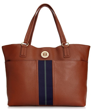 """Tommy Hilfiger Handbag, Montana Pebble Tote Sale $167.99 Sale ends 10/14/12 Pricing Policy •Tommy Hilfiger bag •Leather •Double handles with 7-1/2"""" drop •Magnetic snap closure •Gold-tone hardware; front slip pocket; signature-embossed plaque at front; stripe detail at front •Interior features zip pocket and 2 slip pockets •17-3/4"""" W x 11-3/4"""" H x 5-1/4"""" D"""
