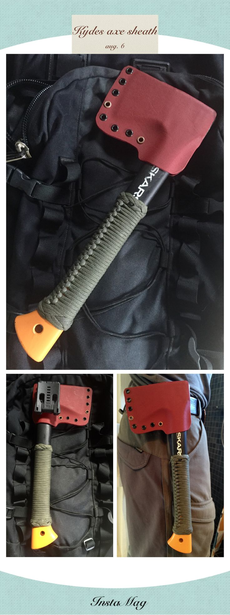 Kydex sheath for fiskars axe