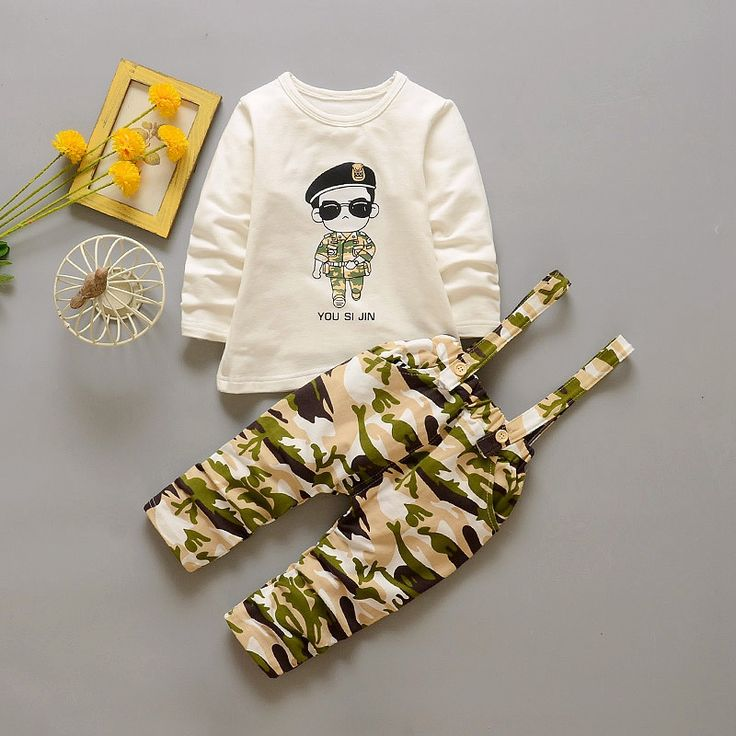 >> Click to Buy <<  Spring Baby Girls Cartoon T-shirt Tops + Camouflage Print Overalls Trousers Boys Infant Sets Kids 2Pcs Suits roupas de bebe #Affiliate