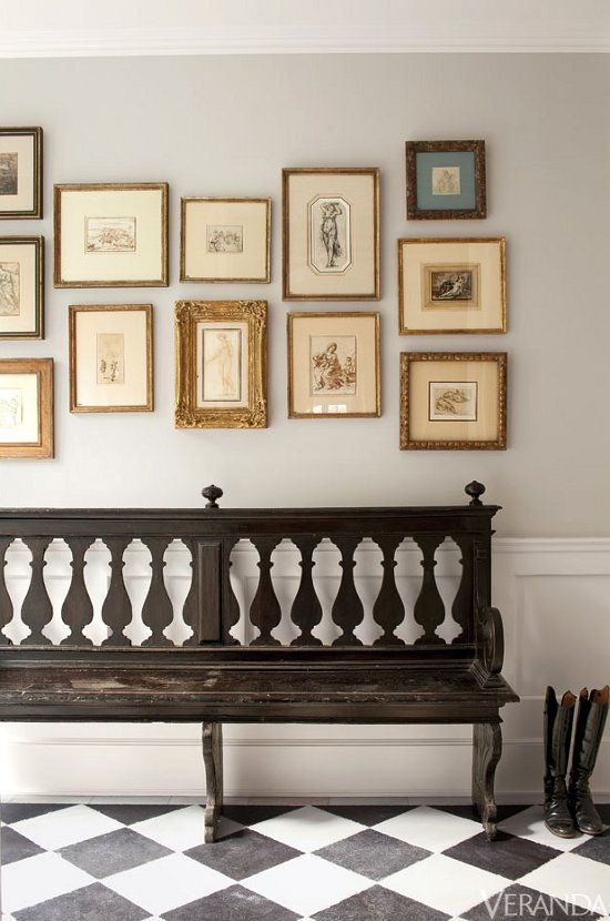 gallery wall & antique pew | interior richard shapiro