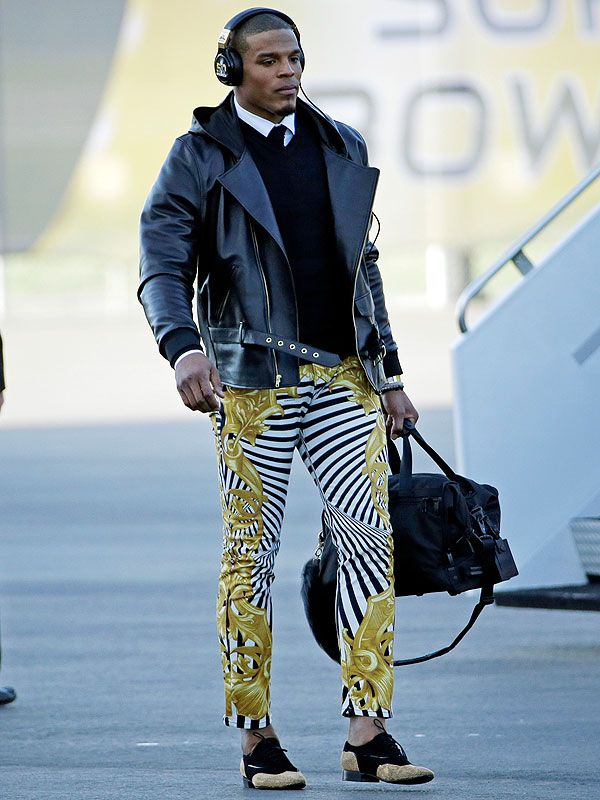 Cam Newton Versace Pants....when a man is young, tall, Dark, Handsome & Talented in his game....GO CAM....love it!