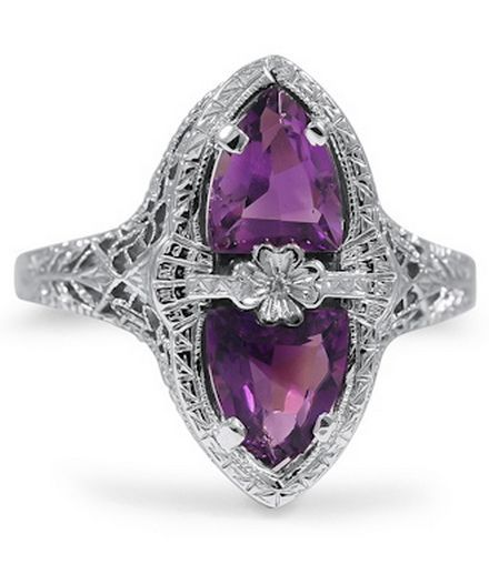 The Idris Ring From Brilliant Earth - Two ravishing trillion shaped Amethysts mirror each other in this decadent ring from the Edwardian era, which features gorgeous filigree and a shamrock detail at the center (Amethysts approx. 2.00 total carat weight).