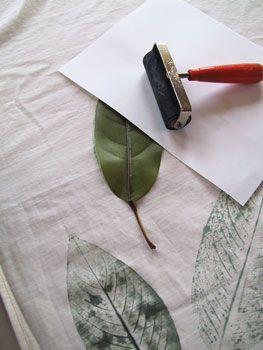 Leaf Print on Fabric