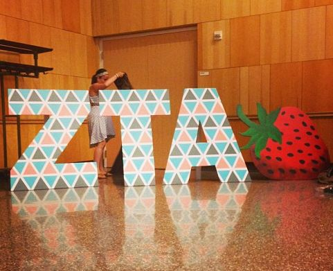 Take a look at these letters (and giant strawberry) that Lambda Epsilon Chapter (Indiana University-Purdue University Indianapolis) made.