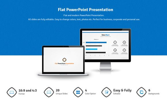 Check out Flat PowerPoint Presentation by hey! on Creative Market