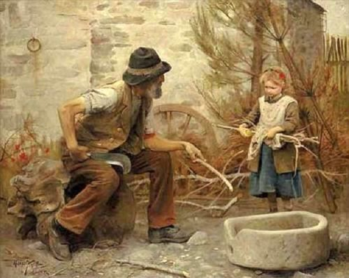 'Woodcutter and His Daughter' - Arthur Hacker (1858 – 1919, English)