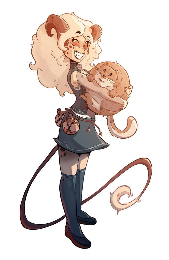 Wallpaper Cute Little Girl Cartoon Tiefling With Giant Space Hamster D Amp D Stuffs Character