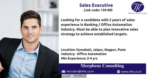 We are looking for an experienced Sales Executive for our client which is in Office Automation industry to be based out in Nagpur, Jaipur, Pune , Guwahati.