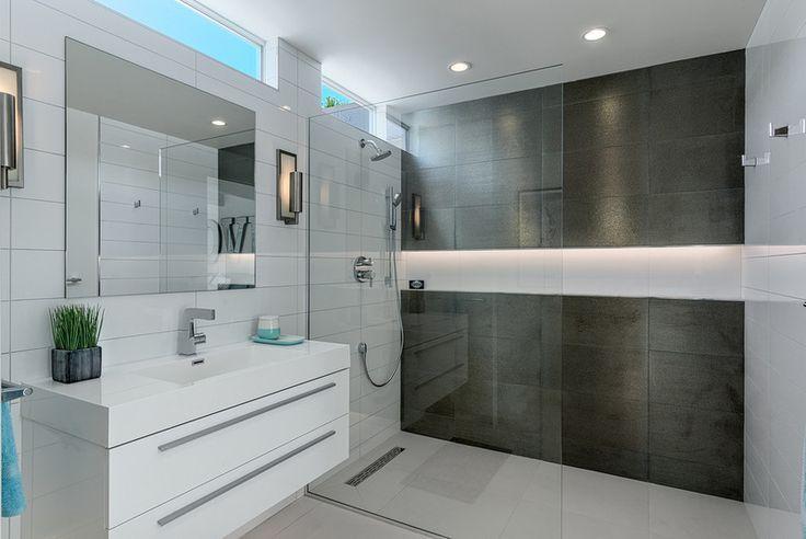 bathroom trends 2016 - tume kivimuster seinal, hele põrand