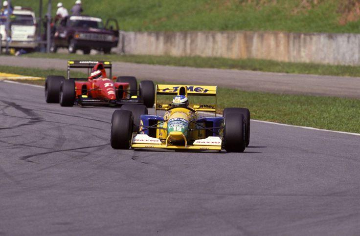 Michael Schumacher (Benetton-Ford) & Jean Alesi (Ferrari) - Grand Prix du Brésil - Interlagos 1992