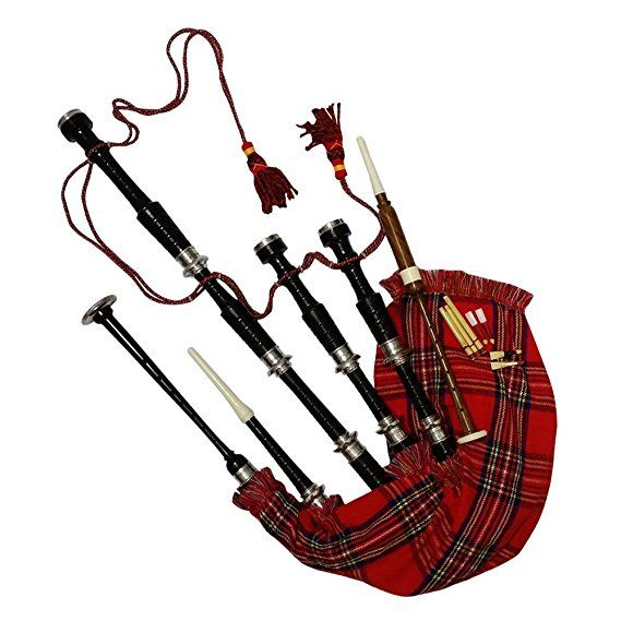 Toy Bagpipe Rose wood Royal Stewart Cover /& Cord 2 Reeds Free Mini