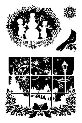 Inkadinkado - Inkadinkaclings Collection - Christmas - Rubber Stamps - Winter Wonderland